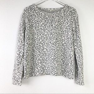 Jane and Delancey Metallic Leopard Print Textured Long Sleeve Sweater Top Size L